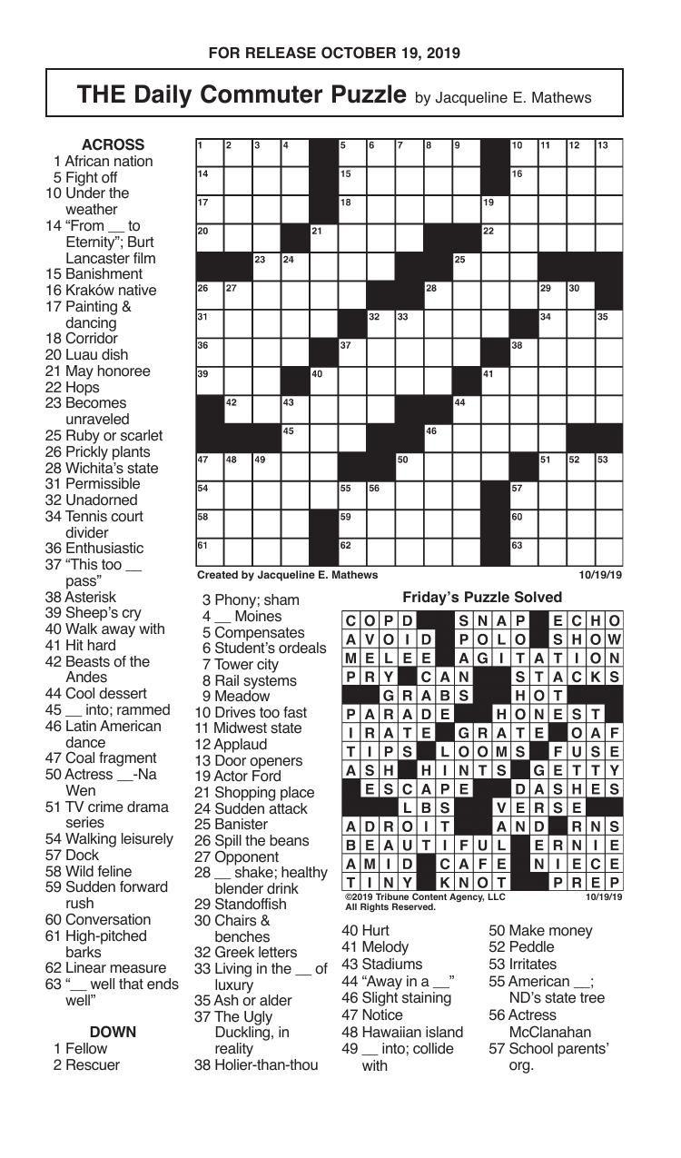 Crosswords, October 19, 2019