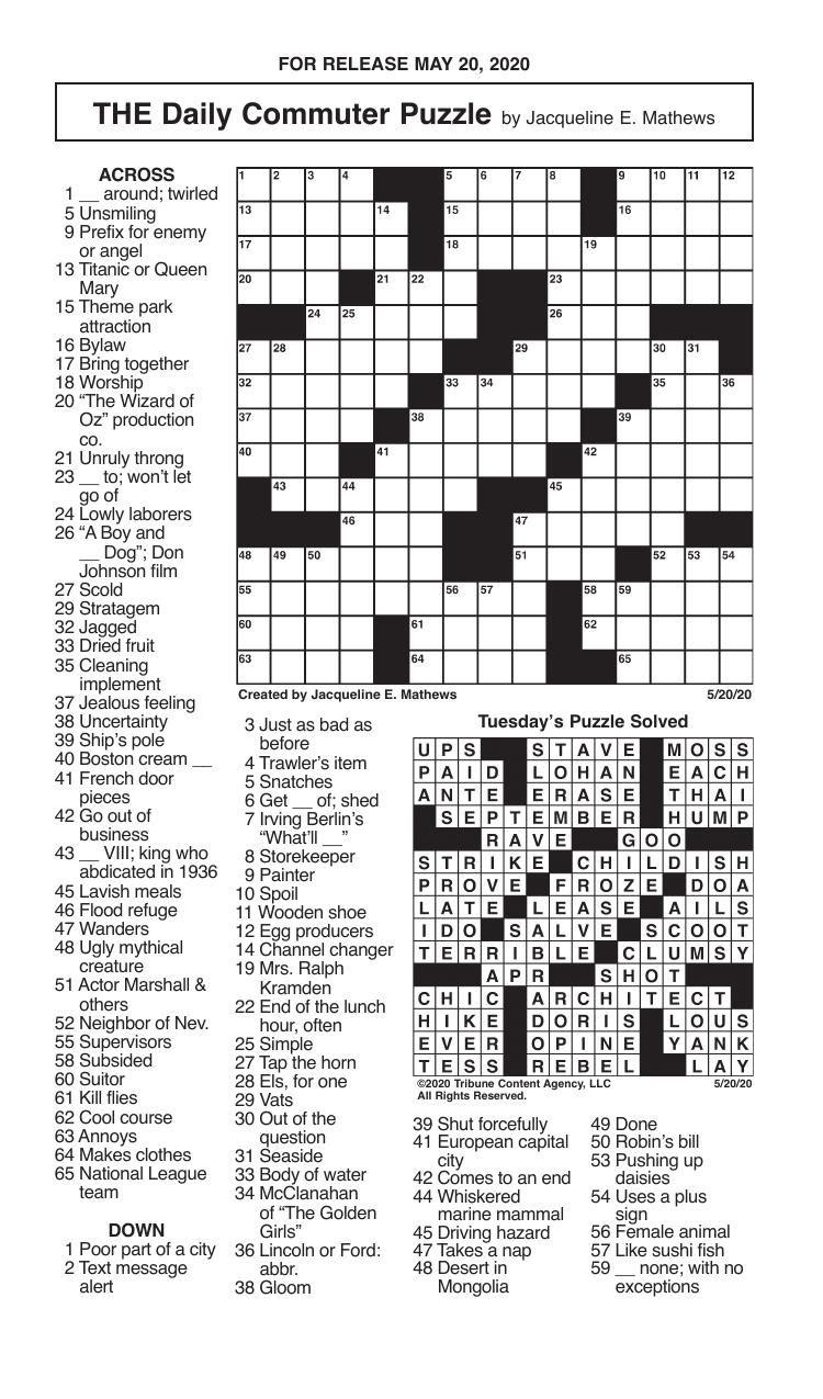 Crosswords, May 20, 2020
