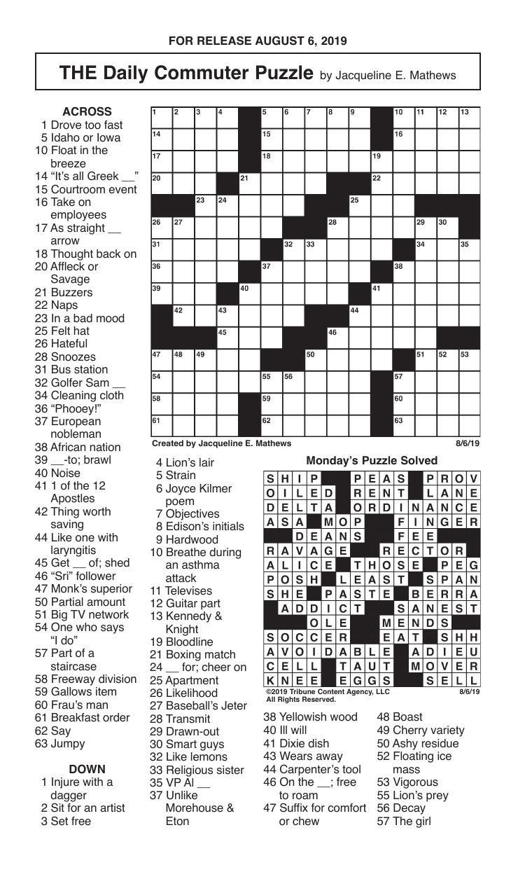 Crosswords, August 6, 2019