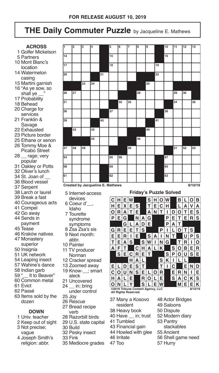 Crosswords, August 10, 2019