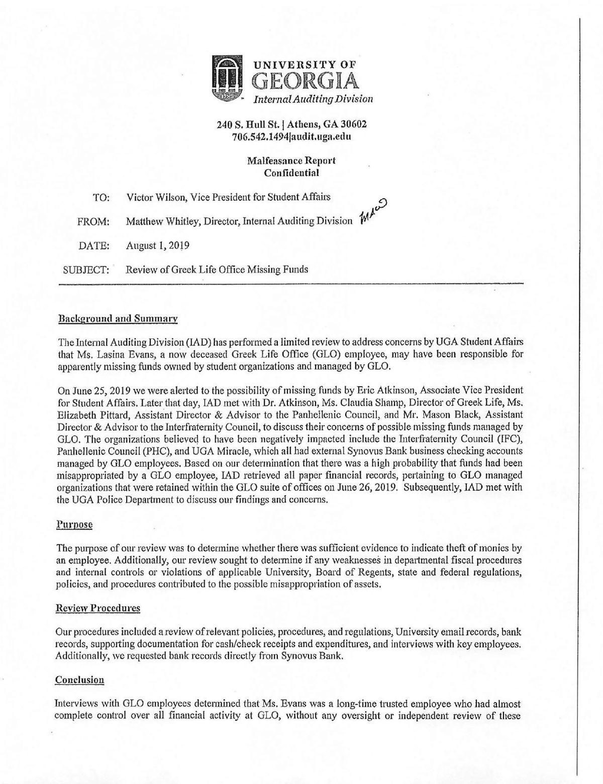 UGA IAD Aug. 1 Malfeasance Report