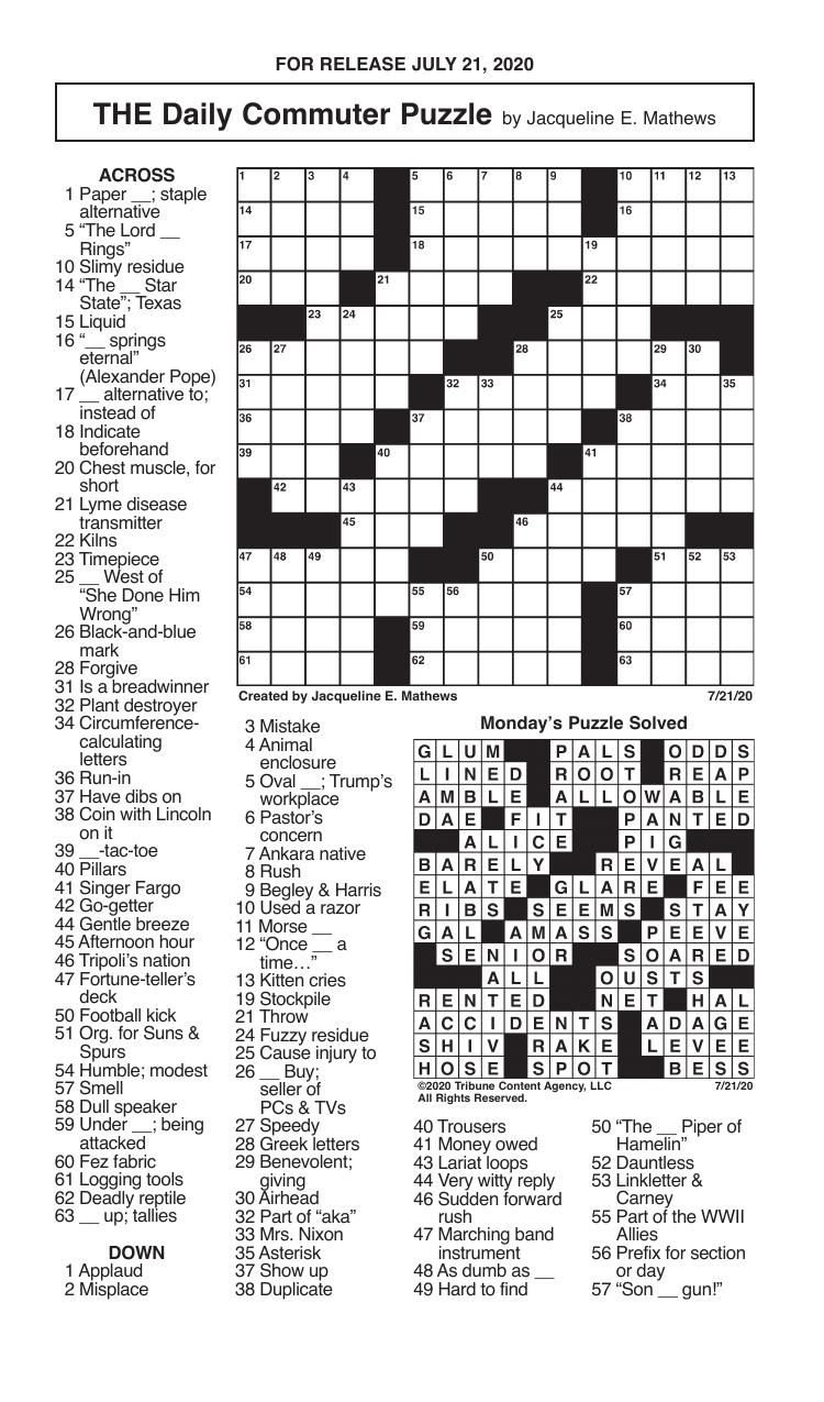 Crosswords, July 21, 2020
