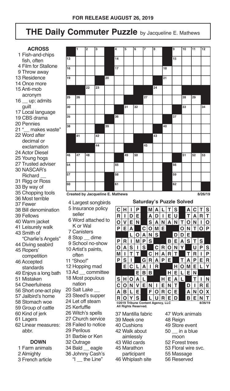 Crosswords, August 26, 2019