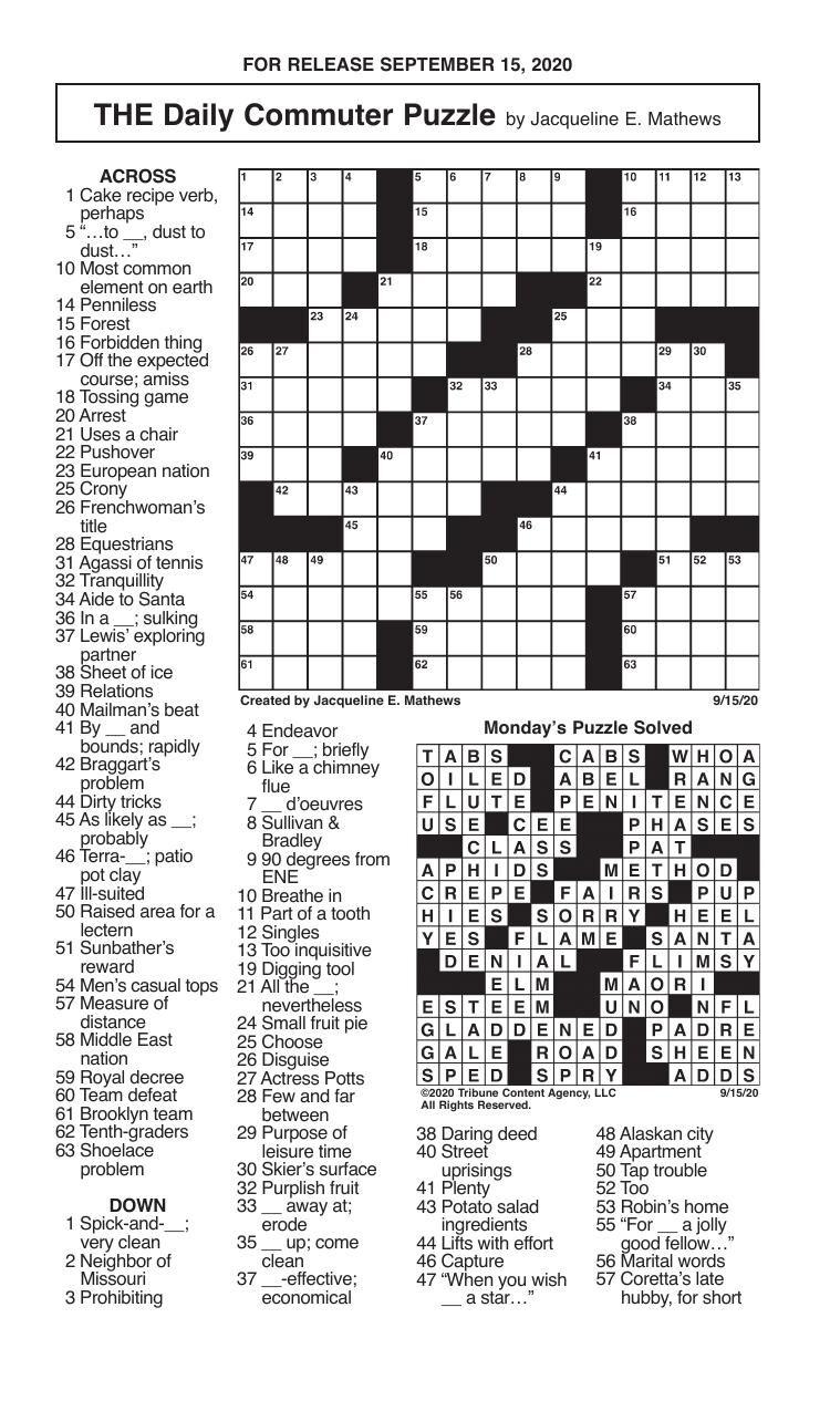 Crosswords, September 15, 2020