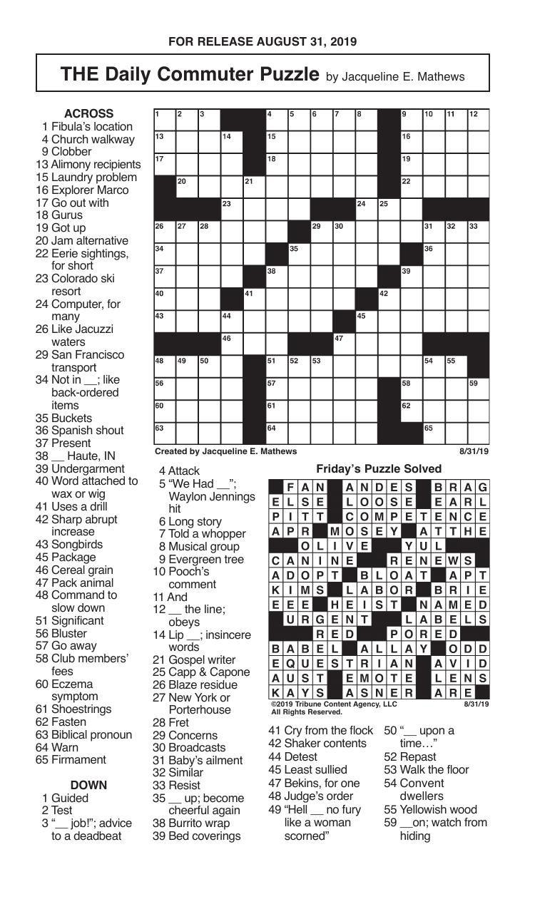 Crosswords, August 31, 2019