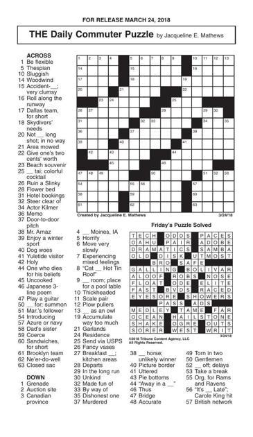 Crosswords March 24 2018 Crosswords