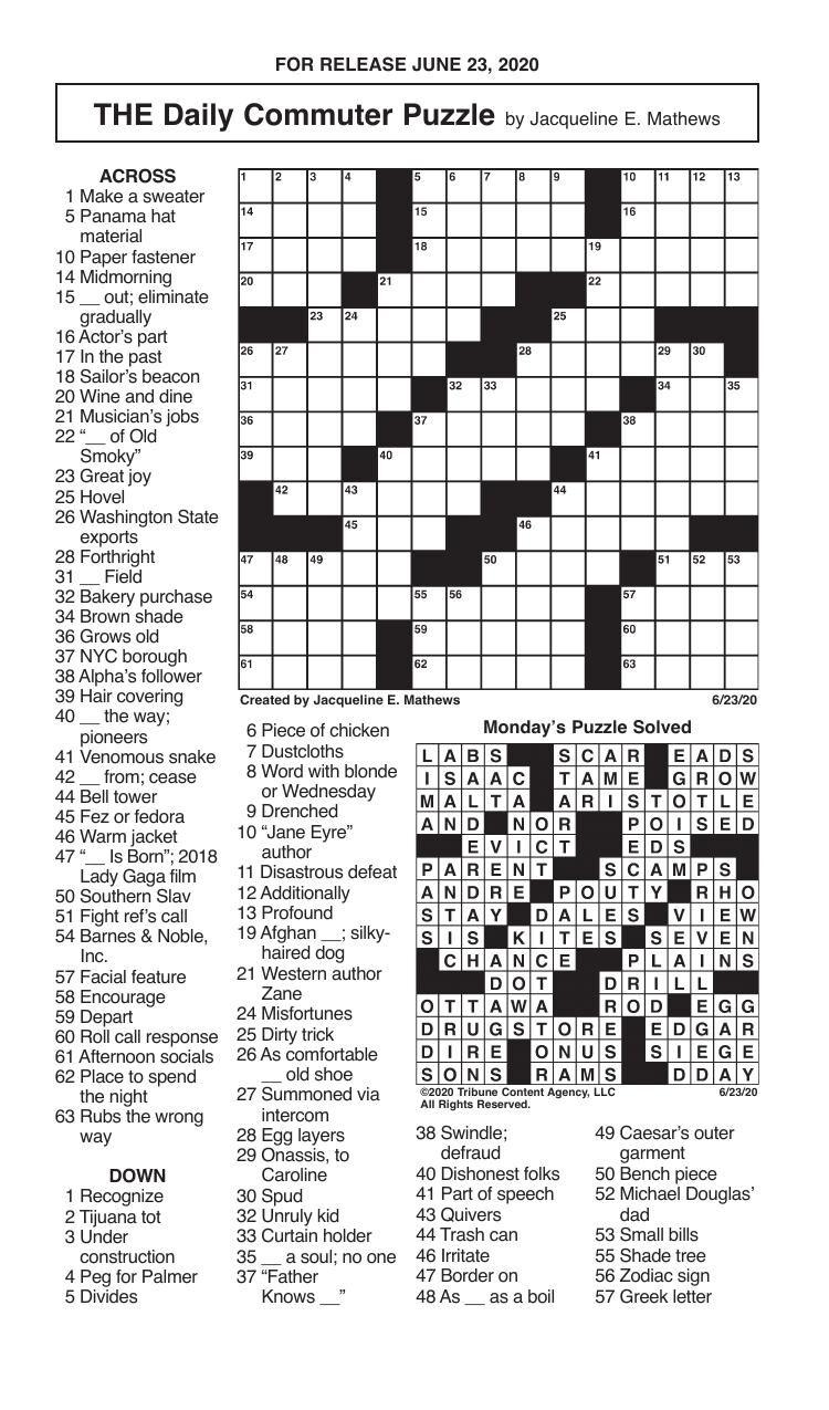 Crosswords, June 23, 2020