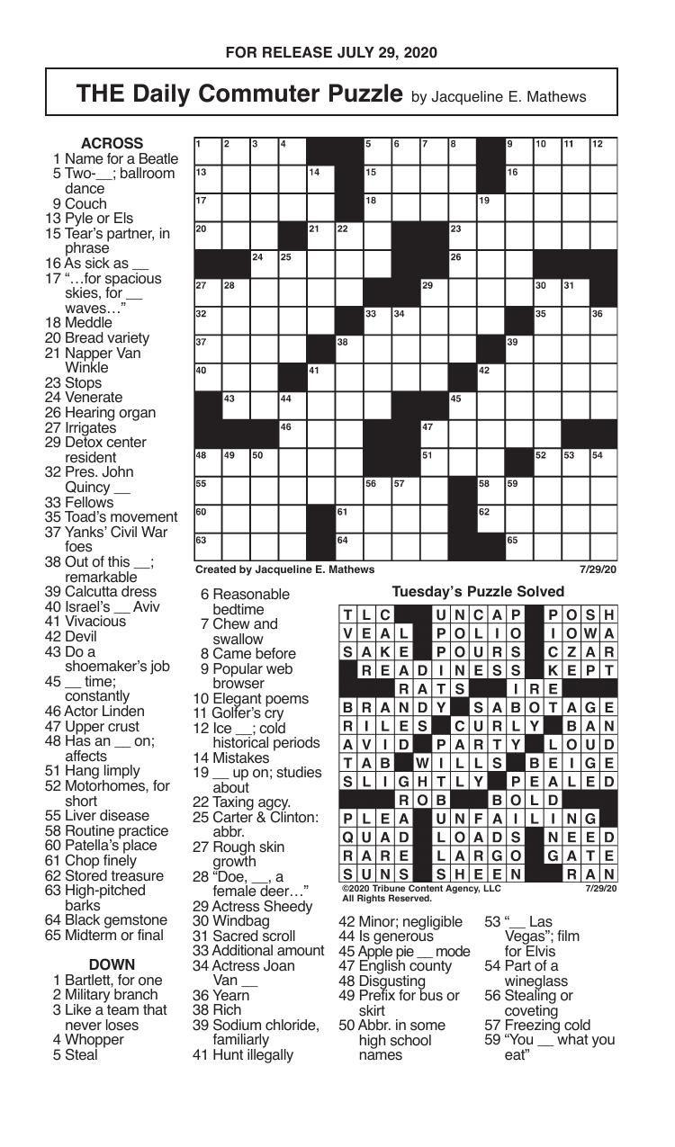 Crosswords, July 29, 2020