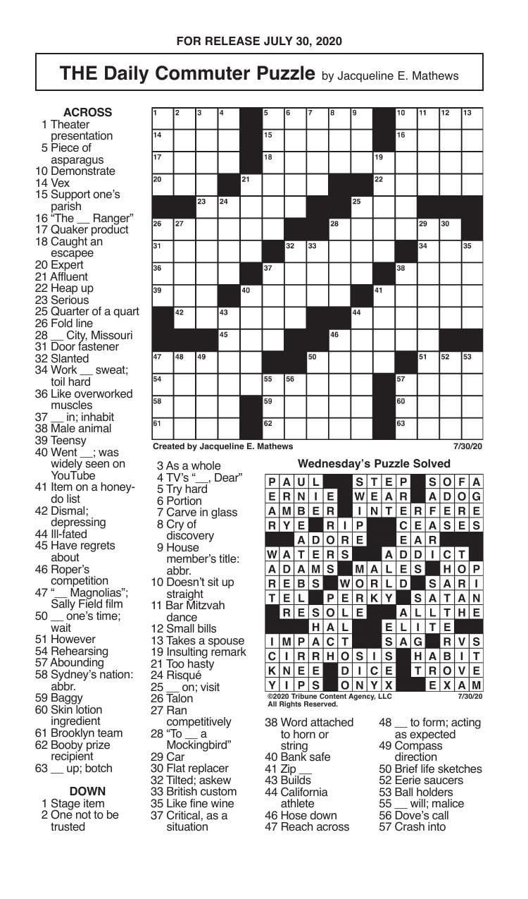 Crosswords, July 30, 2020