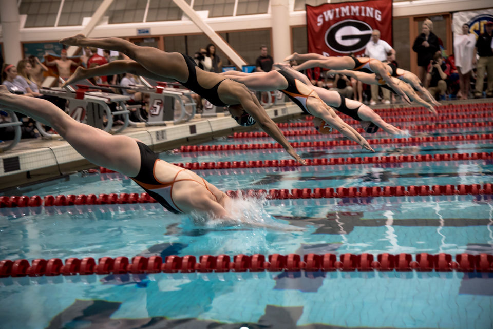 uga women s swimming and diving wins 100th consecutive dual meet at gabrielsen natatorium