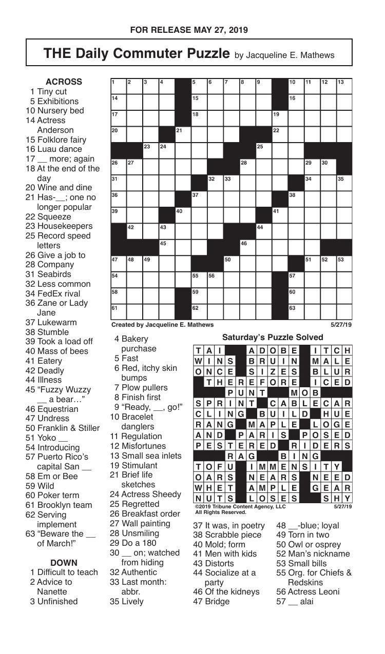 Crosswords, May 27, 2019