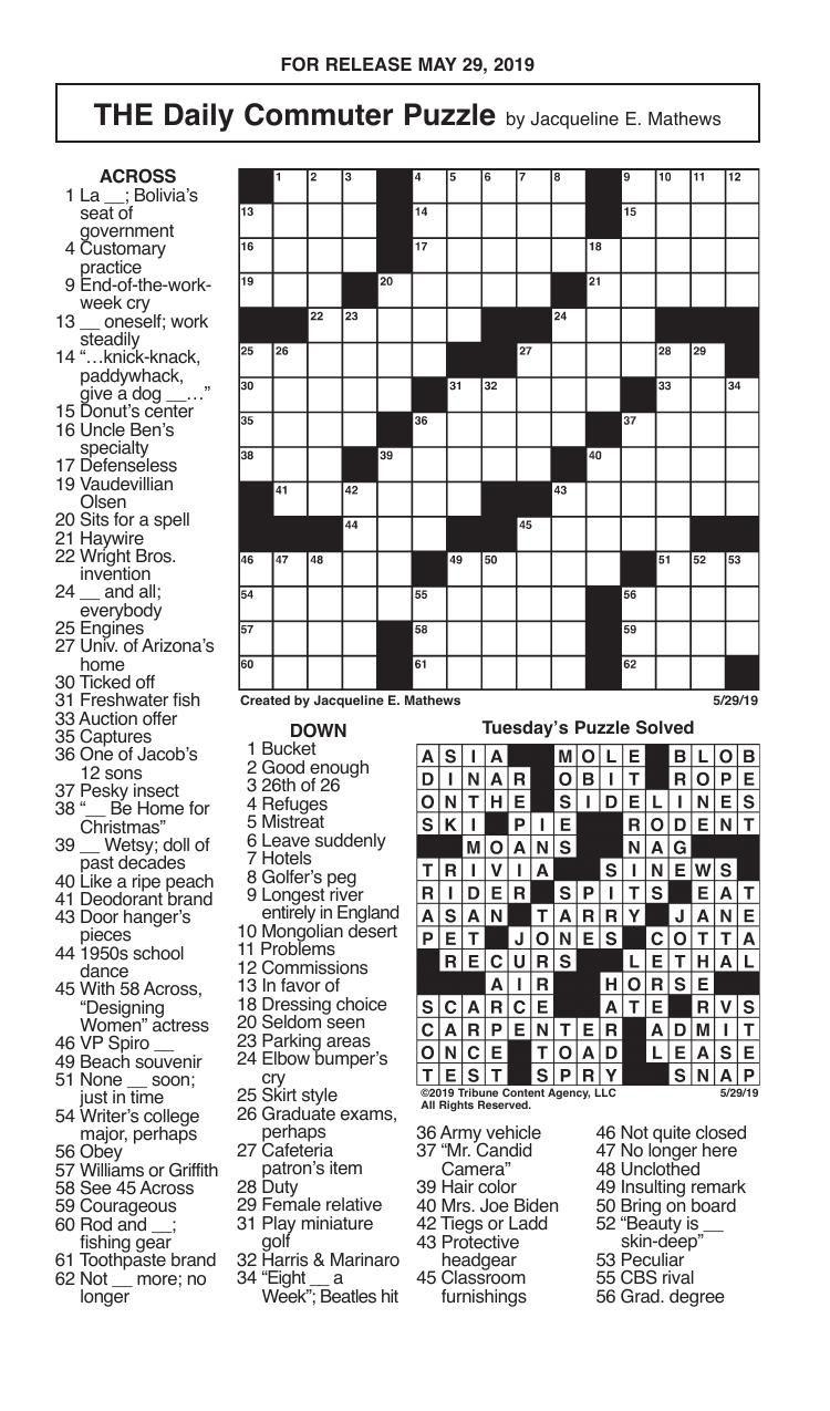 Crosswords, May 29, 2019