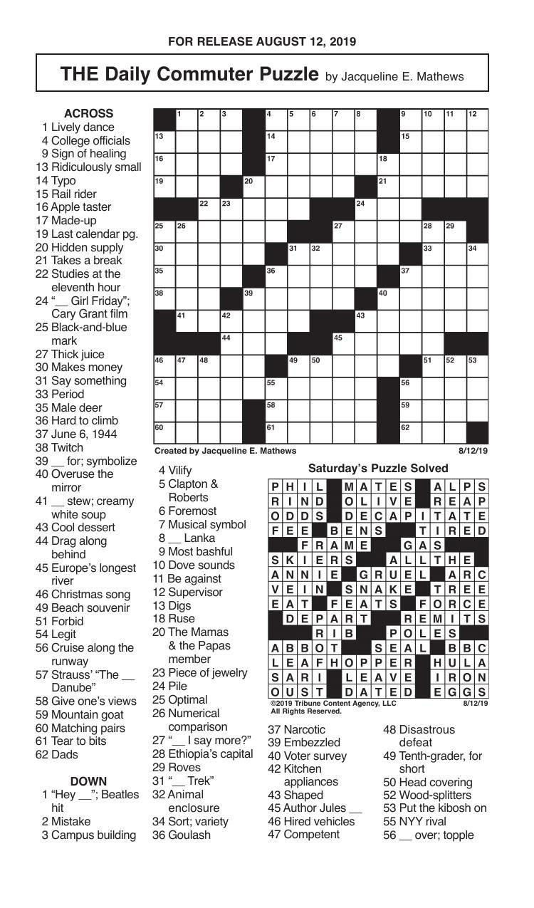 Crosswords, August 12, 2019