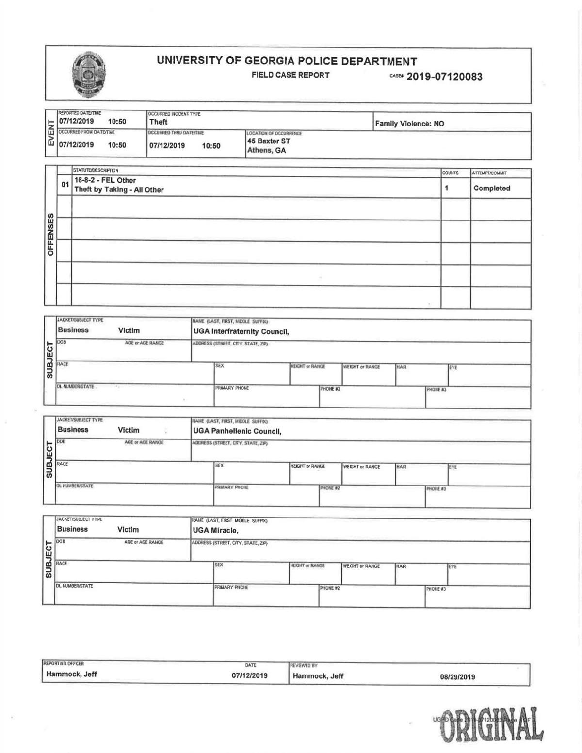UGAPD GLO Investigation Report