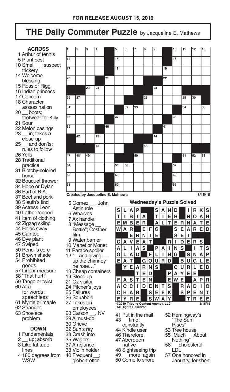 Crosswords, August 15, 2019