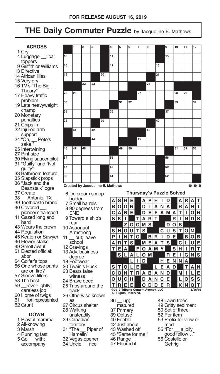 Crosswords, August 16, 2019