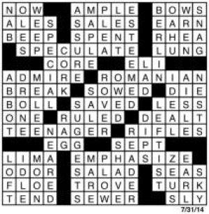 Crossword July 30 | Puzzles | redandblack com