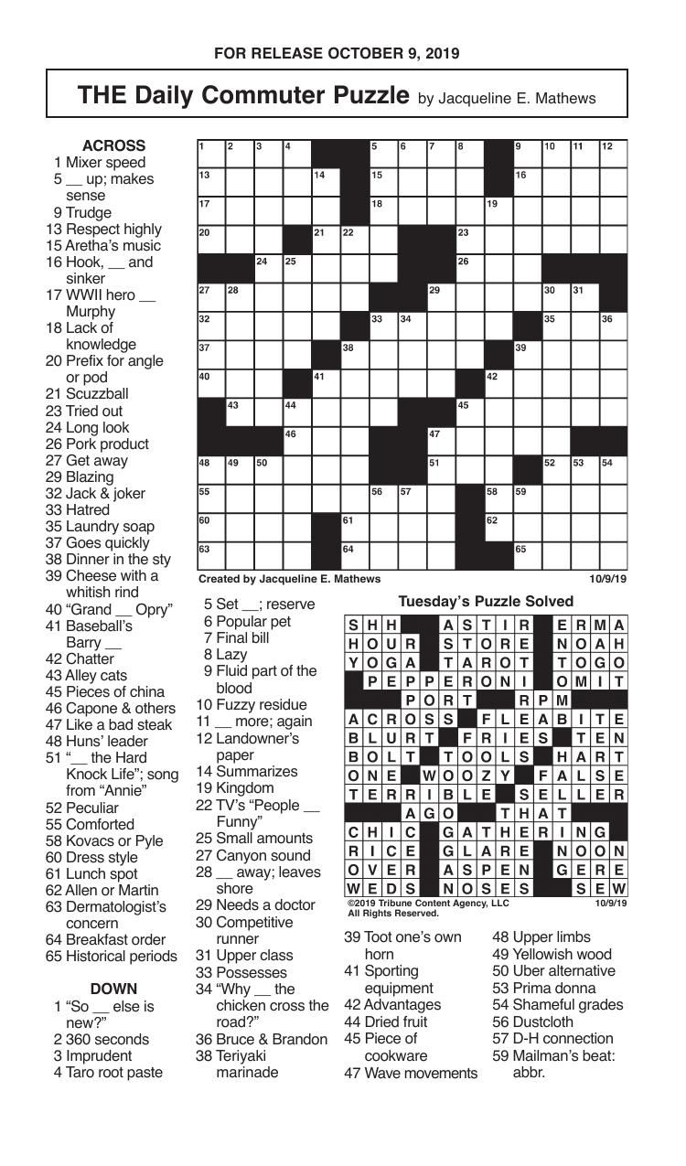 Crosswords, October 9, 2019