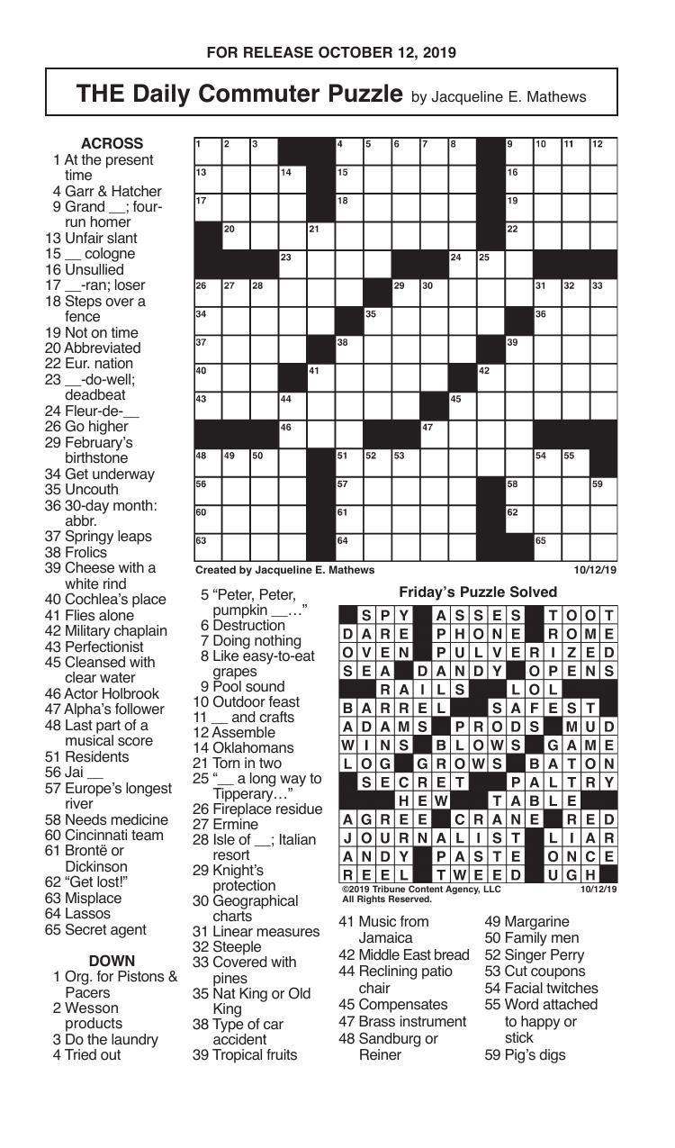 Crosswords, October 12, 2019