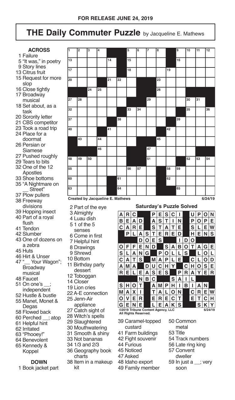 Crosswords, June 24, 2019