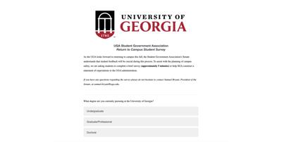 return to campus survey screenshot