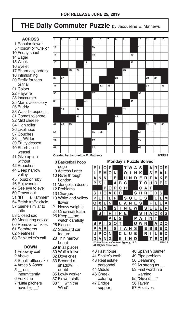 Crosswords, June 25, 2019