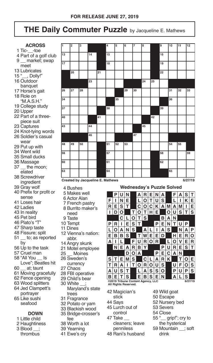 Crosswords, June 27, 2019
