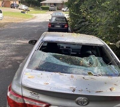 Tropical Storm Zeta broken car window