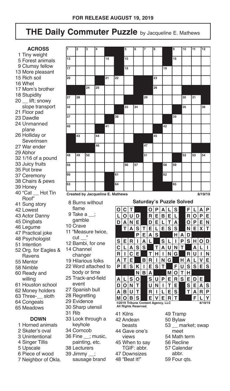 Crosswords, August 19, 2019