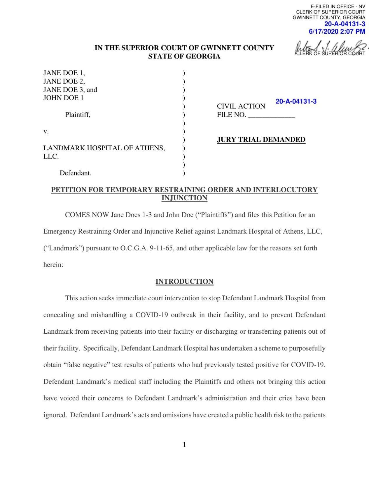 Lawsuit against Landmark Athens