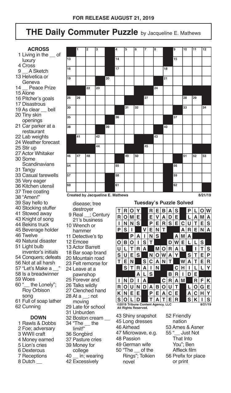 Crosswords, August 21, 2019