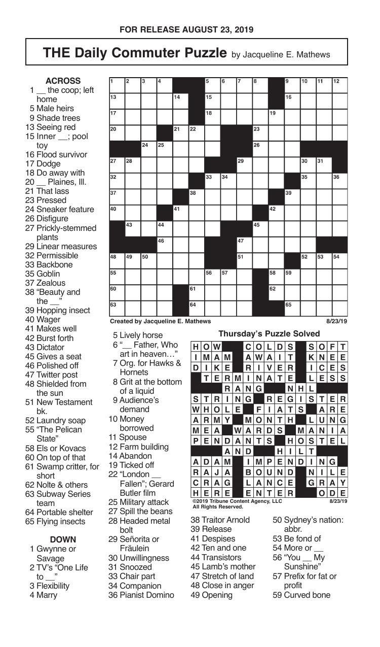 Crosswords, August 23, 2019