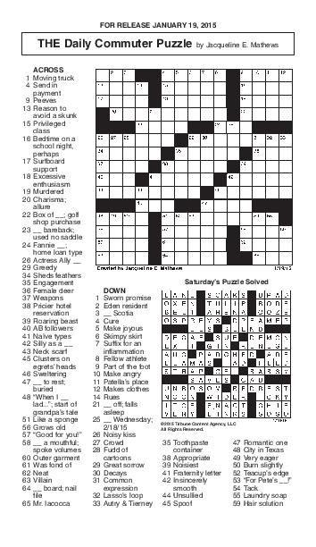 Crossword January 19 Puzzles Redandblack Com