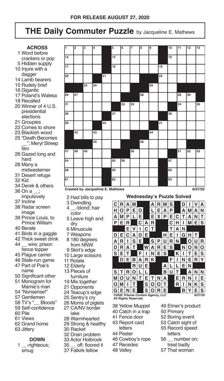 Crosswords, August 27, 2020