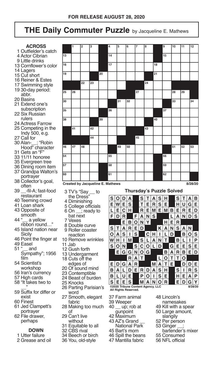 Crosswords, August 28, 2020
