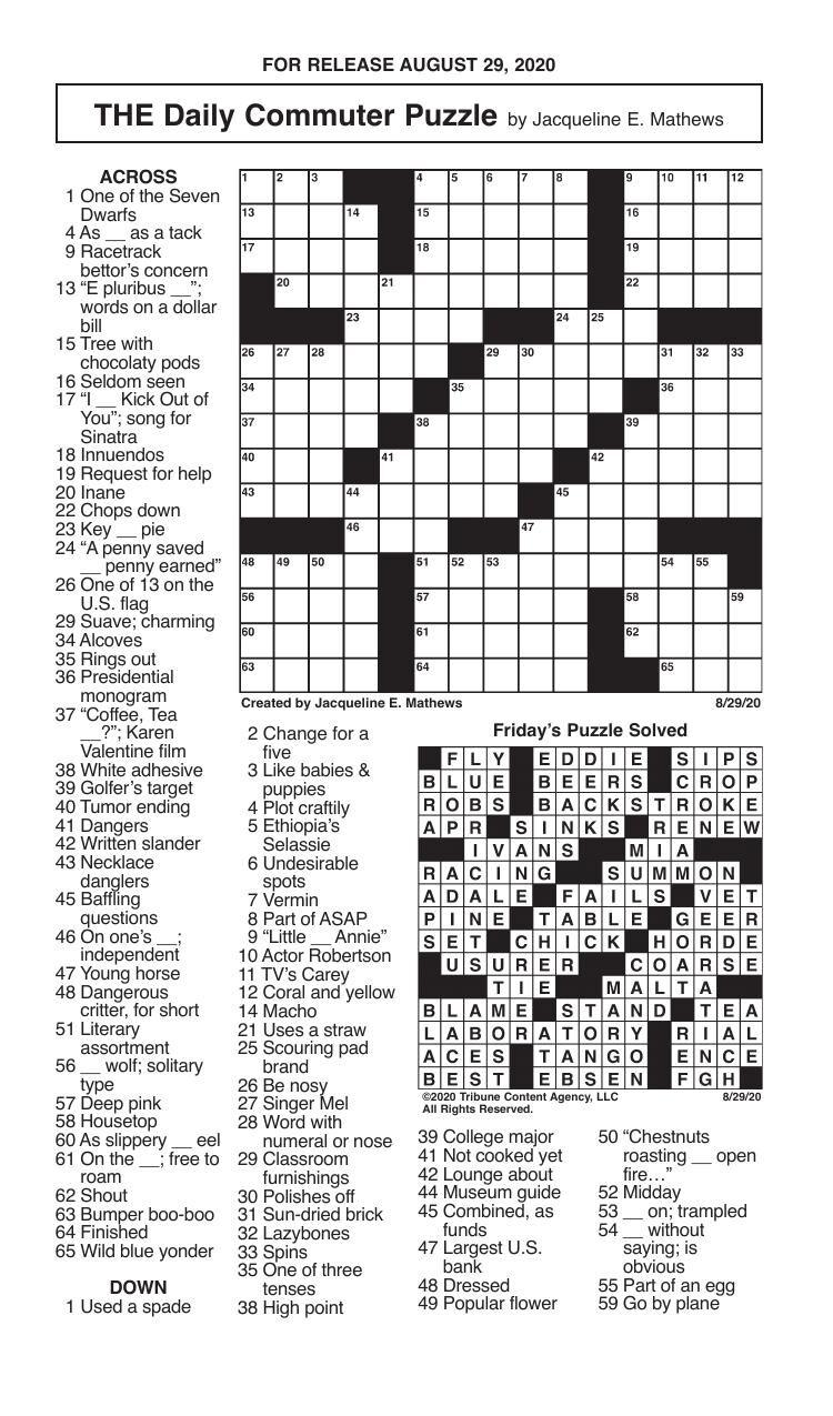 Crosswords, August 29, 2020