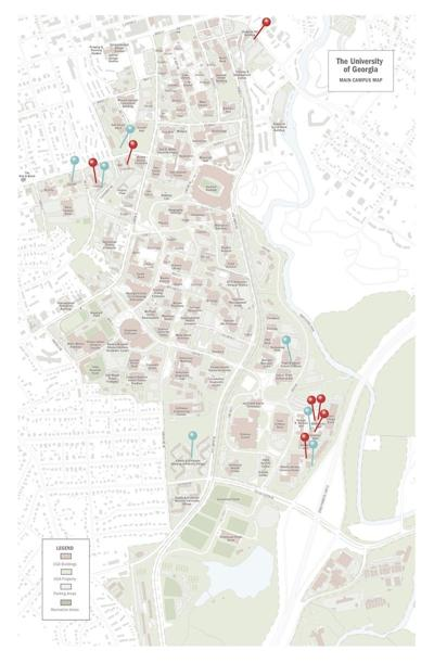 Uga Campus Map With Building Numbers.Map Uga Campus Locations Of Reported Rapes Uganews Redandblack Com
