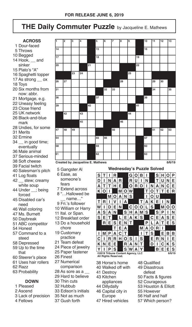 Crosswords, June 6, 2019