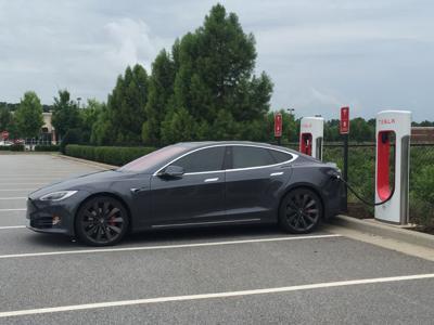 Athens' Epps Bridge Centre debuts Tesla electric car