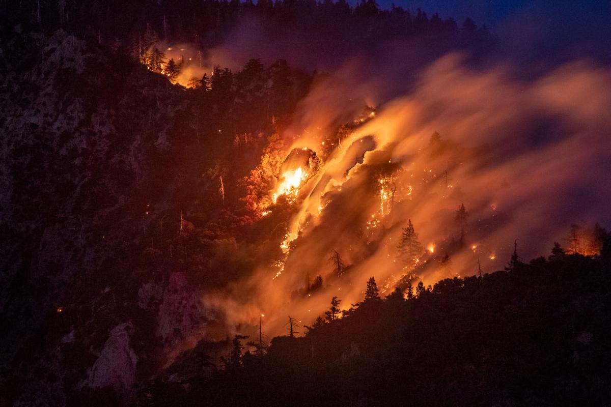Apple Fire still blazing near Oak Glen.