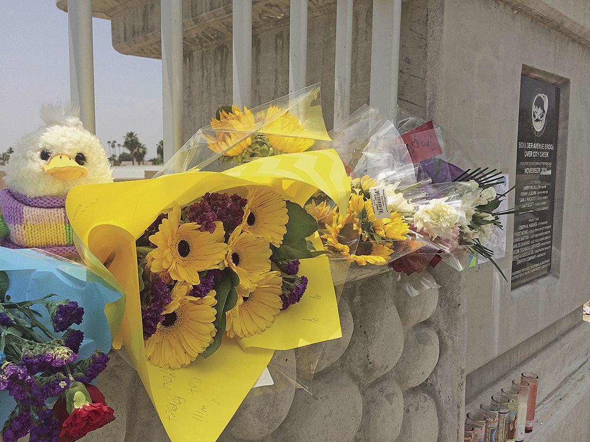 Flowers at the fatal crash scene