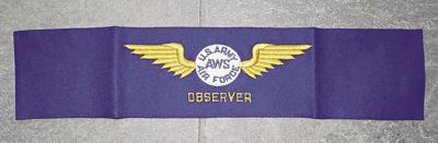 Armband worn by a U.S. Army Air Force Observers watching to attacks by the Japanese during World War II.