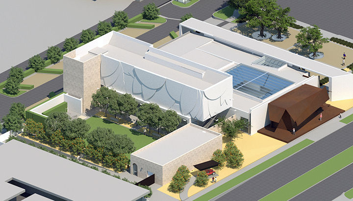 Aerial rendering of the future Museum of Redlands.