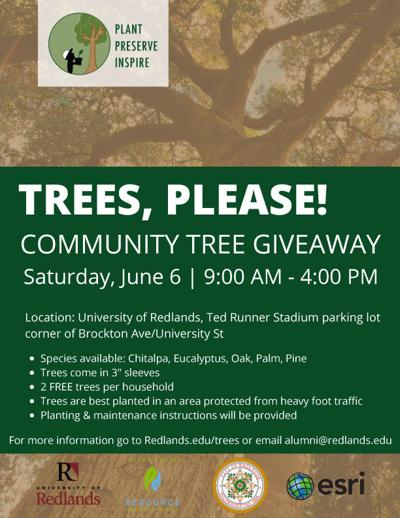 Card advertises the give-away of 15,000 trees