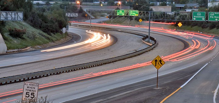 State Route 210 at night at the Highland curve.