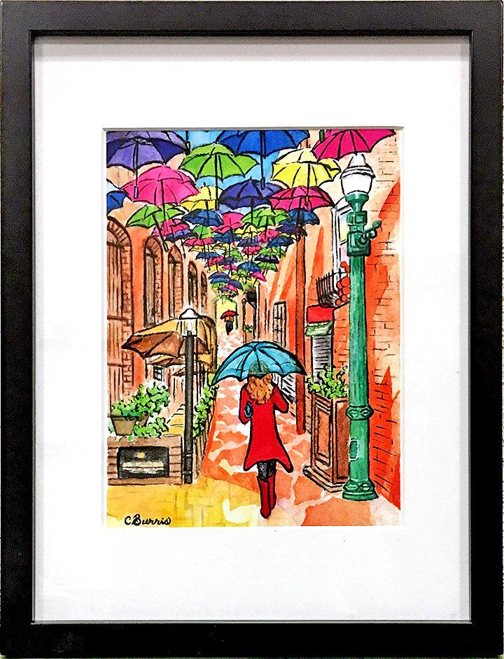 """Umbrella Alley,"" by Cherie Burns. ""Umbrella Alley,"" by Cherie Burns."