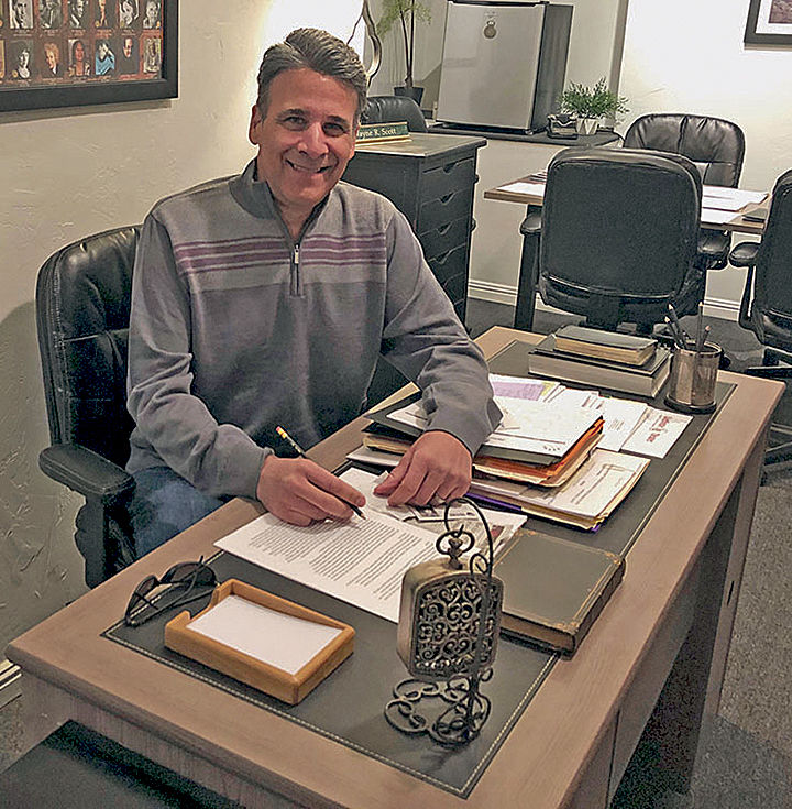Wayne Scott in his office.