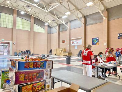 Red Cross at REV to help evacuees.