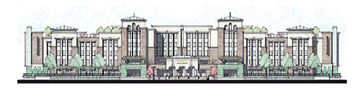The Grand, a multifamily complex proposed at the former site of McEwen Furniture Galleries