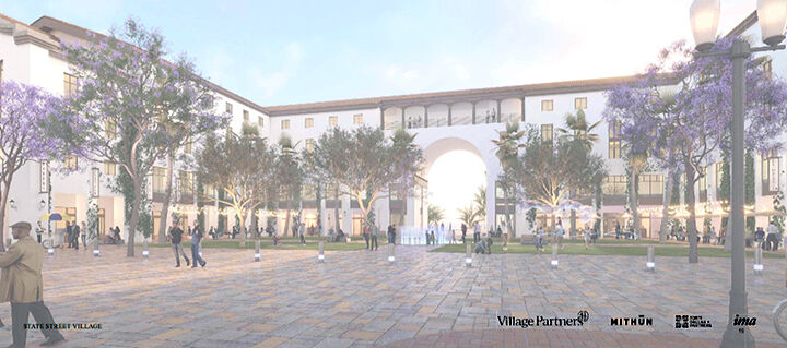 Sketch of the proposed State Street Village from villagepartners.com/redlands.